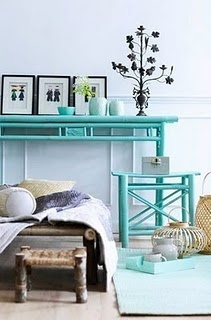 It is pins like this that have me plotting to paint every non-porous piece of furniture I own bright turquoise