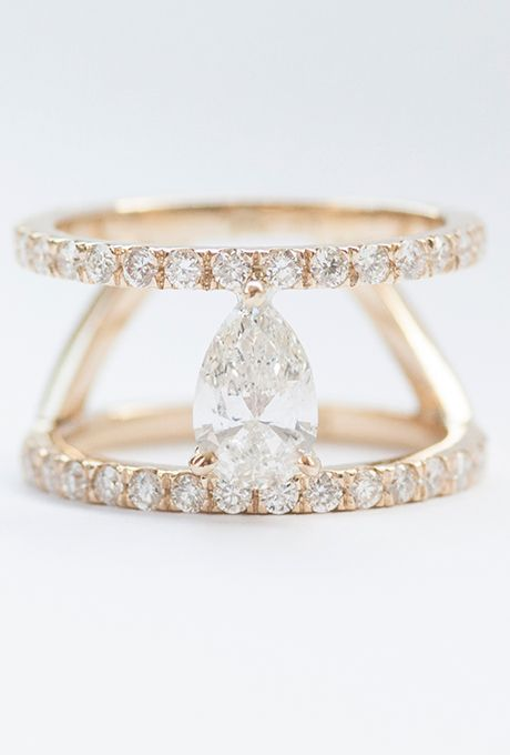 Mociun. Custom double-band engagement ring with a pear-cut white diamond and white diamond pav� set in 14K yellow gold, price upon request, Mociun