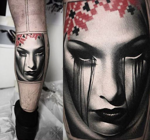 Abstract Face Tattoo by Timur Lysenko