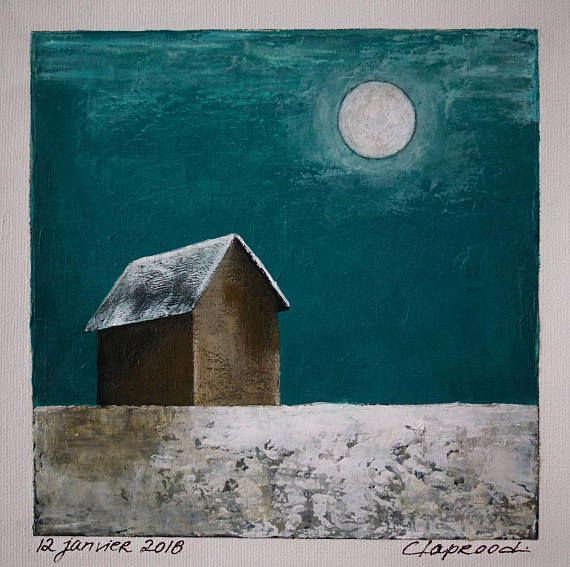 Winter landscape painting barn painting full moon and barn