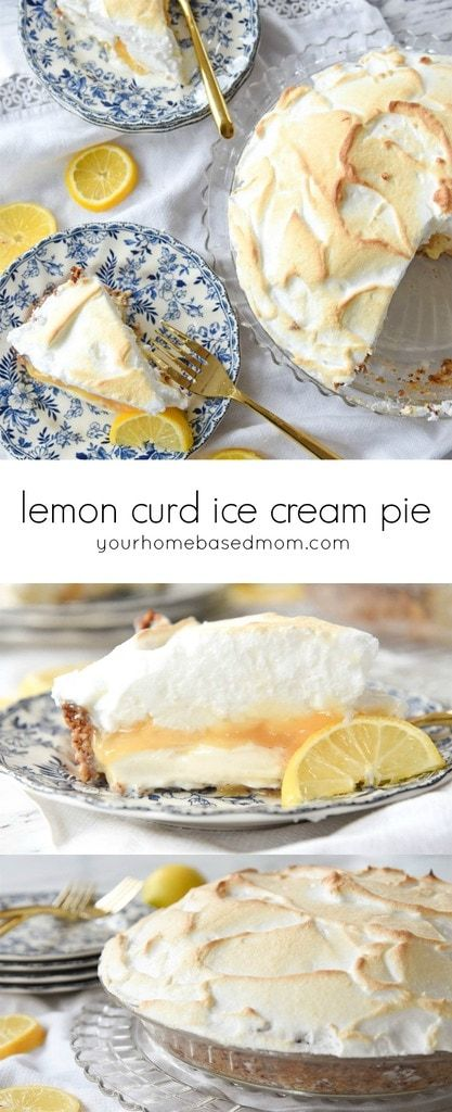 This Lemon Curd Ice Cream Pie is divine. A nutty crust with a sweet and lemony filling, topped with fluffy meringue! ~ Your Homebased Mom