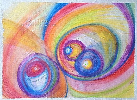 Hallo - Abstract expressionistische aquarel / aquarel schilderij 11 x 15 Originele kunst  ----  Ik beschrijf mijn stijl als Swirly kleurrijke spullen en dingen. En dingen en dingen die ik leuk om te maken.  Mijn verhaal is vrij eenvoudig. Ik heb het creëren van kleurrijke swirly spul sinds ik op de middelbare school was en graag denken dat ik de swirly stijl geperfectioneerd door te doen het over en weer. Once upon a time, mijn leraar van de prentkunst in college afgewezen mijn stijl (ze…