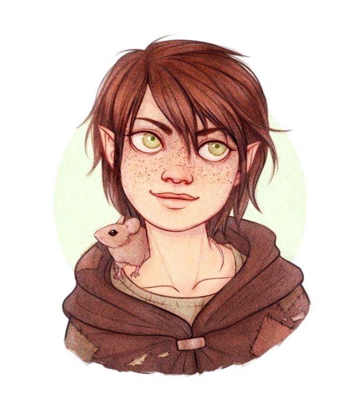 Female Young Halfling Portrait - Pathfinder PFRPG DND D&D 3.5 5th ed d20 fantasy