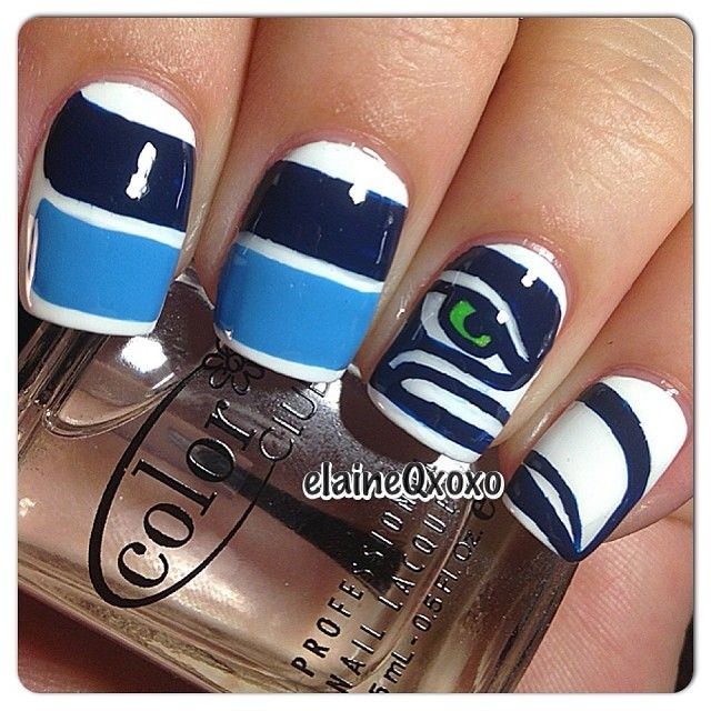 Seattle Seahawks by elaineqxoxo #nail #nails #nailart