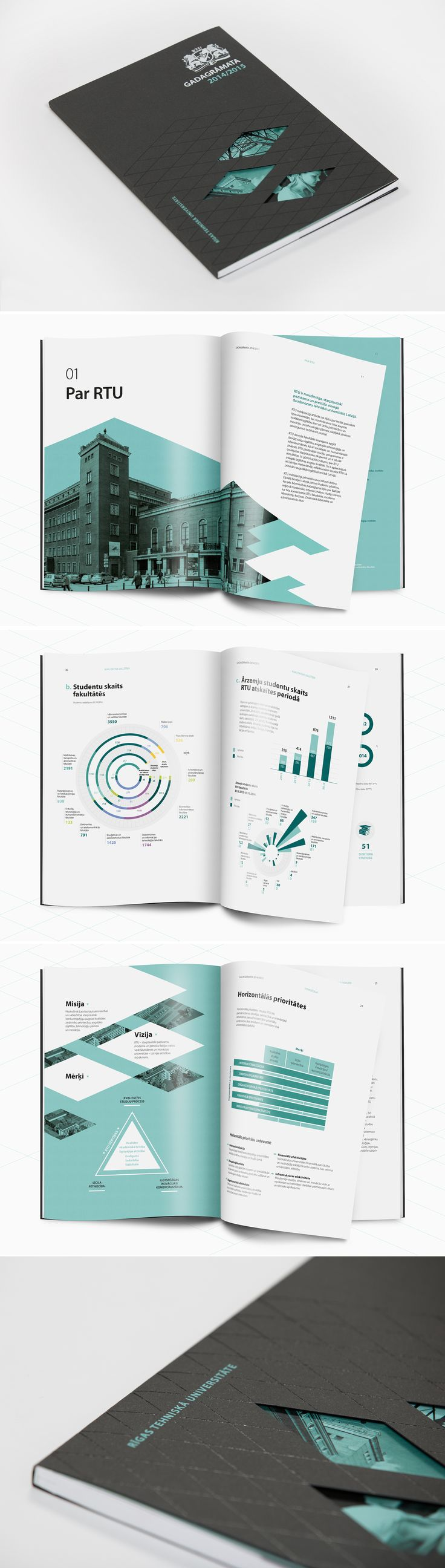 Design of the first Annual report for the oldest higher education institution in Latvia – Riga Technical University (RTU). It is covered in bespoke dark suit with geometric varnish pattern. Throughout pages electrical green colour shapes interchanges with white space. Similarly to RTU themselves – their strong traditions live alongside development and openness. #graphicdesign #annualreport