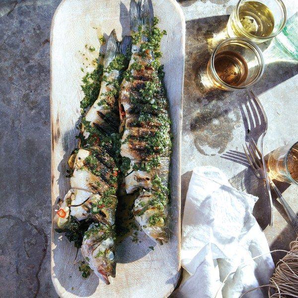 Grilled Branzino with Cilantro-Mint Relish