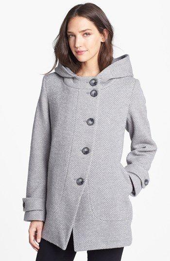 Asymmetrical Hooded Wool Blend Coat