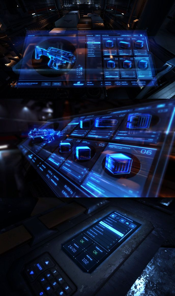 User interface concepts for Star Citizen ship cargo manifest and cargo container…