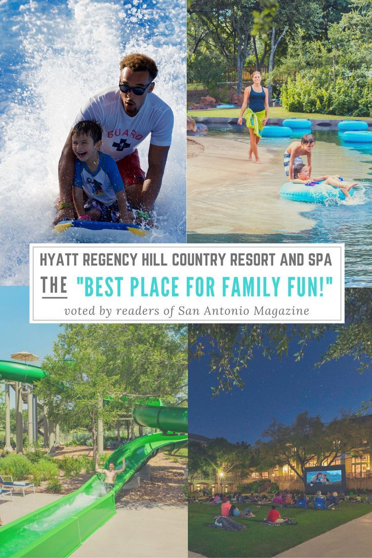 "Visit the ""Best Place for Family Fun"" in San Antonio, TX! Voted by readers of San Antonio Magazine. Guests of the Hyatt Regency Hill Country Resort and Spa experience the Texas Hill Country in a whole new way. Enjoy our FlowRider Wave Machine, 22' Water Slide, 950' Lazy River with beach entry, Movies on the Lawn and more! So much more! You won't want to pass up on this opportunity!"