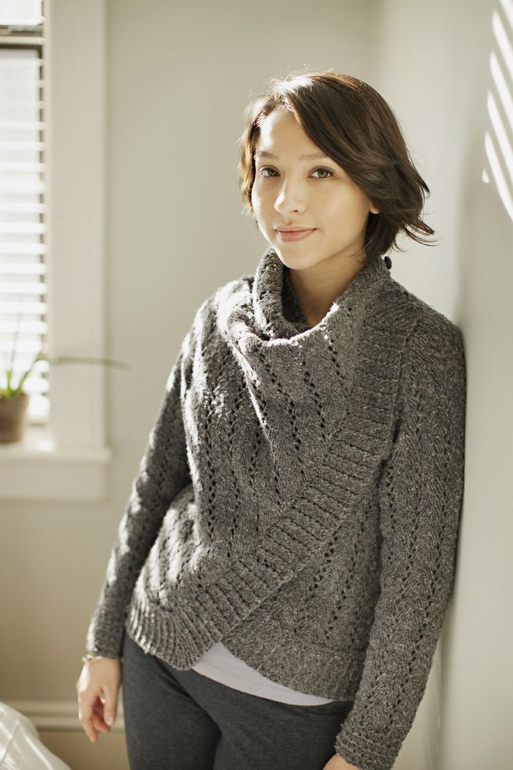 Fuse's lofty openwork fabric and generous drape-front design make it the ultimate sweater for cozy Saturdays around the house. Don't be deceived, it's not just for dressing down! The addition of shank buttons and crocheted button loops at the base of each