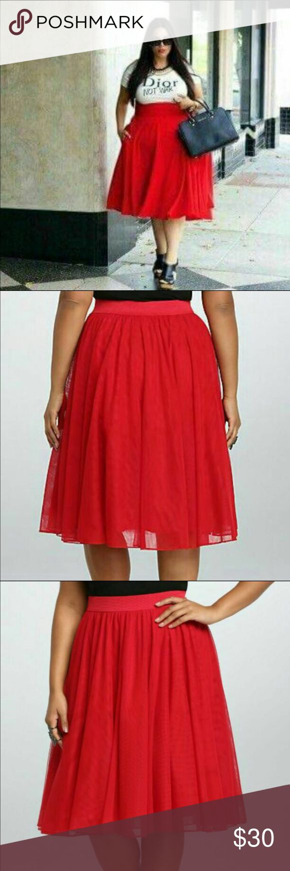 Torrid tulle skirt red Size 2 (18/20) red tulle skirt from torrid! New with tags...didn't work for me. torrid Skirts Midi