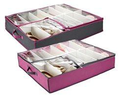 Underbed Shoe Organizer - Pewter & Orchid Dorm Shoe Box