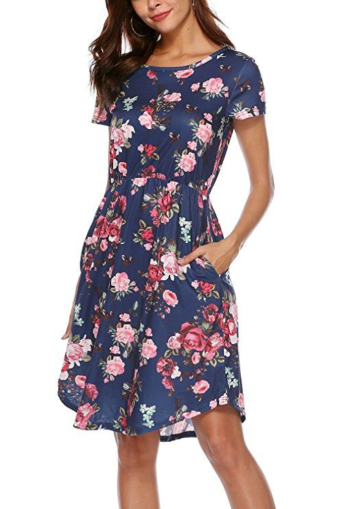 b11272eb160 NICIAS Women Floral Short Sleeve Tunic Vintage Midi Casual Summer Dress  with Pockets