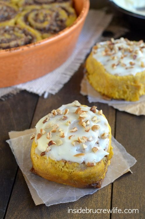 These easy, no-yeast Pumpkin Pecan Cinnamon Rolls can be made and on the table in under an hour. Perfect for enjoying with coffee today!