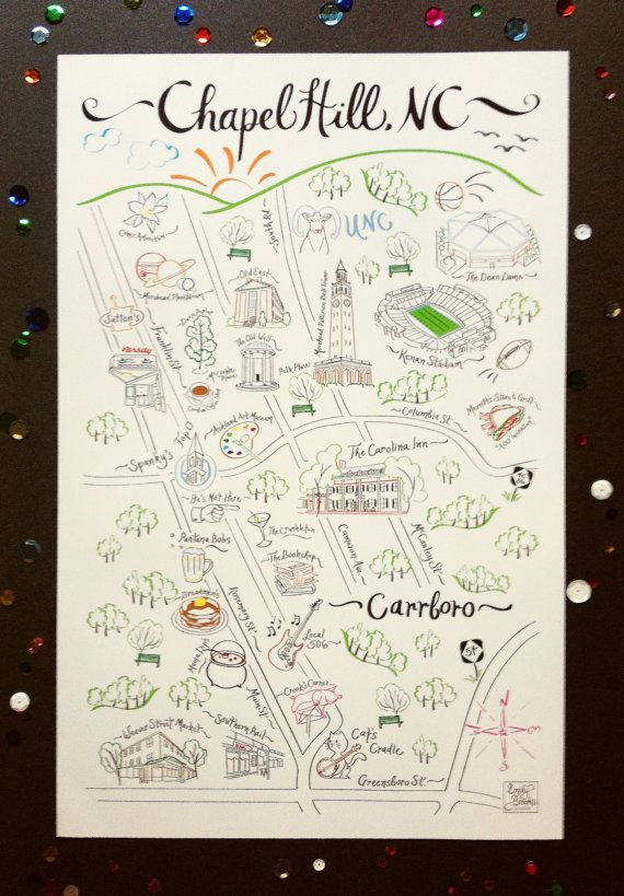 Chapel Hill Map Print 11x17 by EmilyBrooksDesigns on Etsy, $25.00
