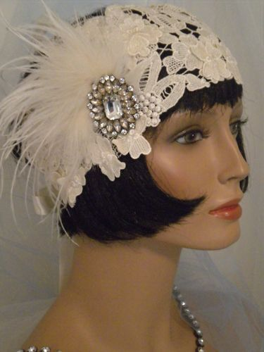 1920's Headpiece Flapper Headband Vintage,Lace,Ivory, Feathers, EV Studio #193
