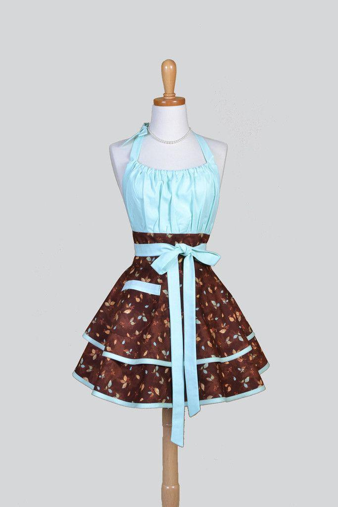 Flirty Chic - Elegant Mint Blue and Rusty Mocha Leaves Pinup Kitchen Apron - Creative Chics - 1