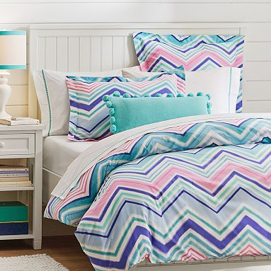 Zig N Zag Duvet Cover + Sham, Cool Multi #pbteen girls could have matching
