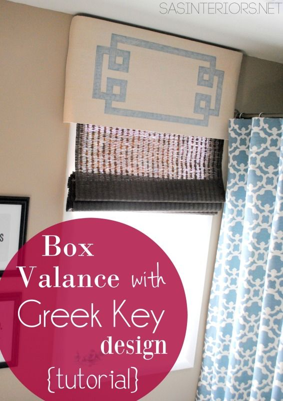 Box Pleat Valance with Greek Key Design {Tutorial}! Great + easy project and you won't believe what was used to make the design... check it out!