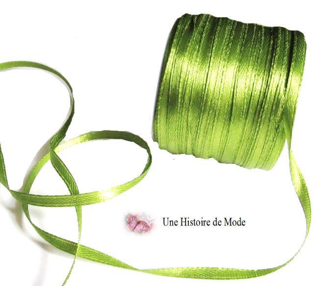 3 mètres - ruban satin vert olive 3 mm de largeur : Rubans par une-histoire-de-mode