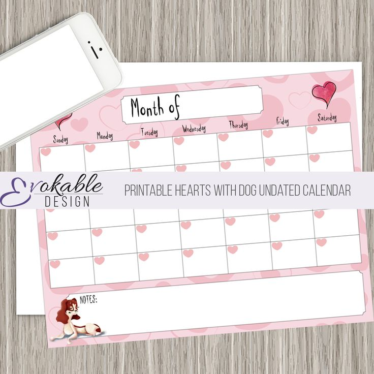 Printable Hearts with Dog Undated Calendar with Notes Section by EvokableDesign on Etsy