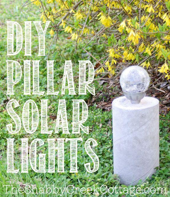 DIY industrial style concrete pillar solar lights @Gina @ Shabby Creek Cottage