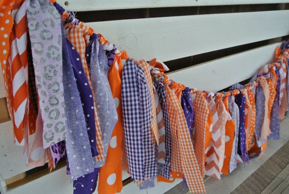 fabric garland Clemson colors shabby fabric garland party decoration football party decor purple orange decor garland photo prop on Etsy, $30.00