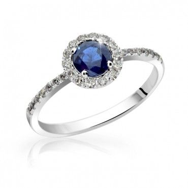 Engagement ring with Sapphire and Diamonds 1.74 ct White gold
