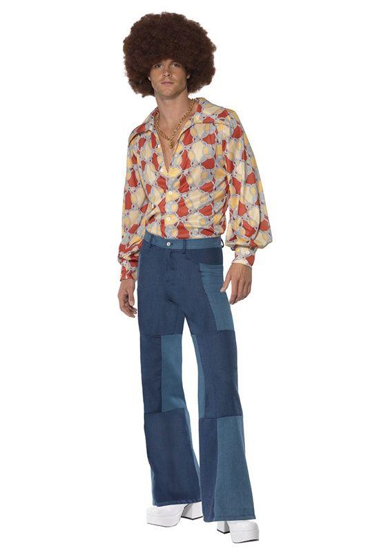 Spodnie męskie w stylu disco wykonane z denimu w dwóch odcieniach. Doskonałe na imprezę w stylu lat 60-tych lub 70-tych.