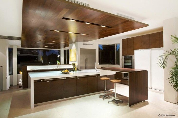 Contemporary Huge Kitchen Design Ideas With Modern Brown And White Itchen Cabinets Complete With The Kitchen Tools In It And The Kitchen Have Beautiful Lighting On The Wooden Kitchen Ceiling 30 Huge Kitchen Design Ideas That Smart Kitchen