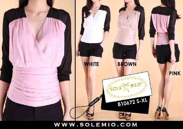 solemio 23,b10672bil~blus sifon satin~white,brown,pink~s-xl-------rp 275,000