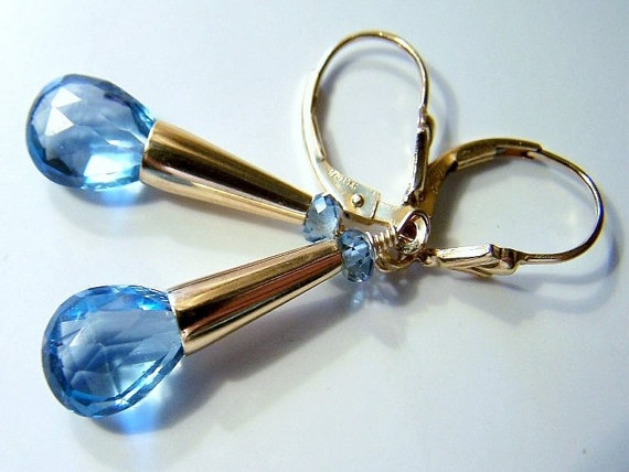 AAA London Blue Topaz Briolettes London Blue by CrystalImpressions, $115.00