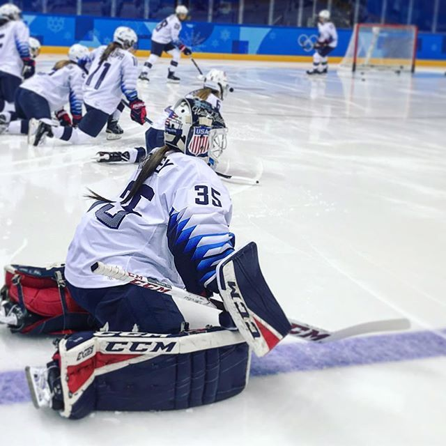 Getting Ready For A Big One Against Canada Maddie Rooney35 Is Making Her Second Start Between The Pipes For Hockey Players Ice Hockey Players Winter Olympics
