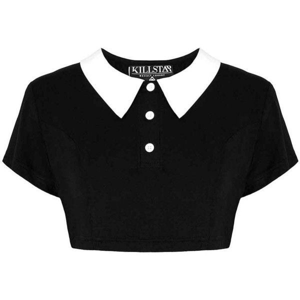 KillStar Addams crop top met witte kraag zwart - Gothic Halloween | At (13.805 CLP) ❤ liked on Polyvore featuring tops, goth top, crop top, gothic tops y goth crop top