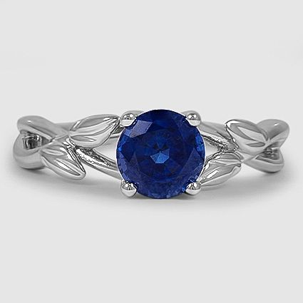 18K White Gold Budding Willow Ring // Set with a 5.5mm Round Blue Sapphire #Bril…