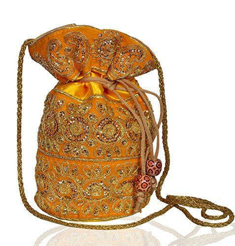 New Trending Make Up Bags: Traditional Indian Silk Potli bag Handbag Purse for Women,Yellow (10534). Traditional Indian Silk Potli bag Handbag Purse for Women,Yellow (10534)  Special Offer: $12.50  166 Reviews This gorgeous drawstring potli bag has heavy silk gold thread embroidery all over it, and an inner lining of satin. Comes with a long gold string too for carrying on shoulder....