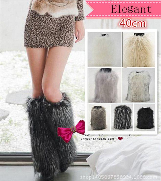 40cm long women leg warmers new fashion 2016 faux fox fur shoes legs warmer women boot socks winter sexy women's boots cuffs