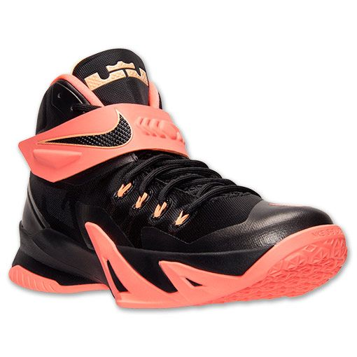 Men's Nike Zoom LeBron Soldier 8 Basketball Shoes | Finish Line | Black/Bright Mango/Peach Cream