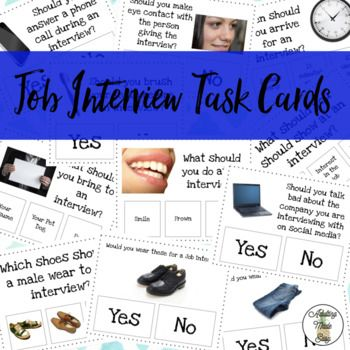 36 Job Interview Task Cards for Special Education with real images! Focuses on social and grooming skills. Print, laminate, cut for long term use. Use clothes pins or a dry erase marker to mark the correct answer. Great for small group lessons and work task bins.