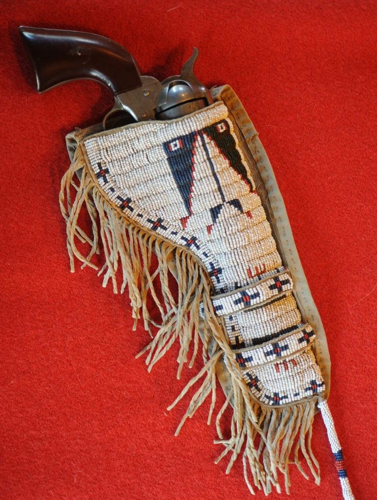 "bishopdane: ""This is a Sioux, fully ""lazy stitched"" beaded holster, c 1900. Original beaded holster are hard to come find. Most were made to wear in parades and for wild west show performers. """