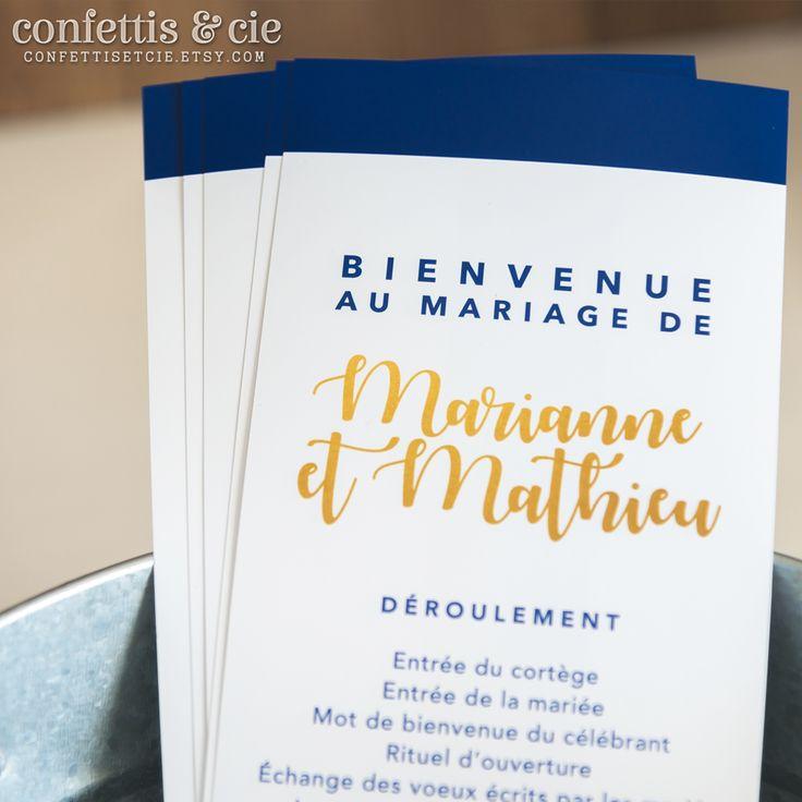 Livret/Programme de cérémonie de mariage à imprimer soi-même / Disponible dans la boutique Etsy