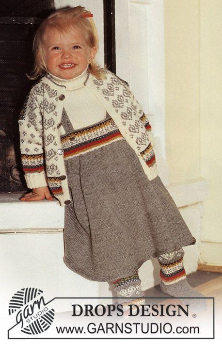 Vest, Trui, Rok, en Sokken van Baby-Ull met Noors Patroon ~ DROPS Design