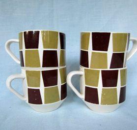 "Crown Lynn ""Trend"" Cups x 4"