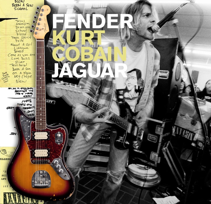 Fender Kurt Cobain Signature Jaguar - Has been 'reliced' to replicate every last little road-worn ding on Kurt's original guitar. It's pretty amazing! It looks like an old beat up guitar! It's kind of a mutt and was like that when Kurt bought it. Had/has a Dimarzio Super Distortion in the bridge position and a Dimarzio PAF at the neck. Also added are a Gibson style tune-o-matic bridge, three way pick-up toggle switch, and an additional volume knob, so each pick-up can be controlled…