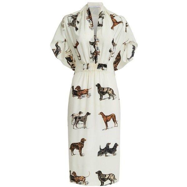 Women's Stella Mccartney Dog Print Silk Dress ($1,515) ❤ liked on Polyvore featuring dresses, silk dress, print dresses, tailored dresses, tailored white dress and pattern dress
