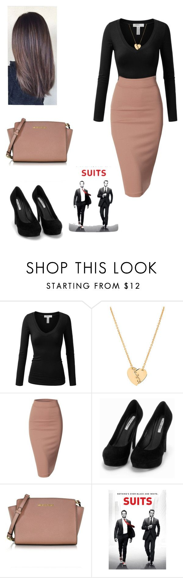 """""""Rachel Zane"""" by crazy-wild-ninja ❤ liked on Polyvore featuring J.TOMSON, Marc by Marc Jacobs, Doublju, Nly Shoes and Michael Kors"""