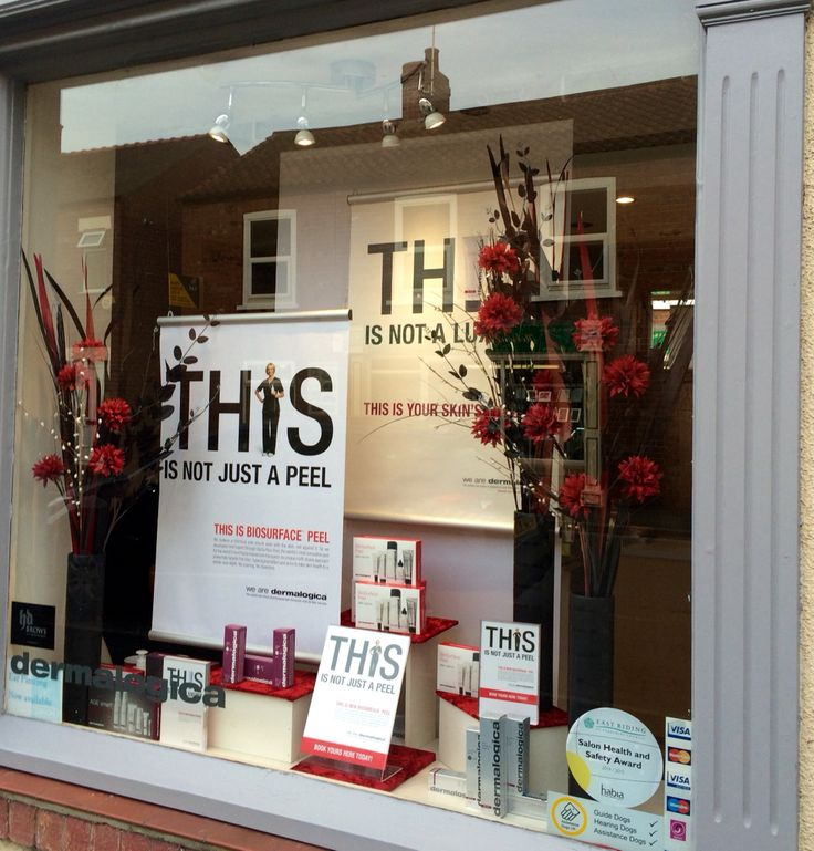 Our new autumn window advertising the fantastic BioSurface Peel from Dermalogica. Display by Helen Goodwin: