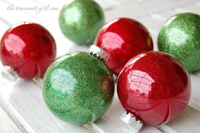 easy DIY - glitter inside clear plastic ornaments.