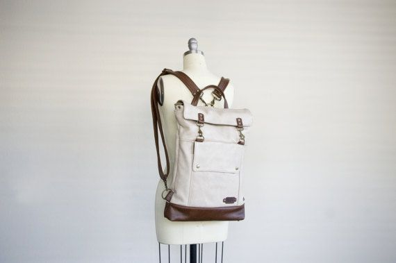 Leather Backpack in Wheat Beige Chestnut Brown Messenger