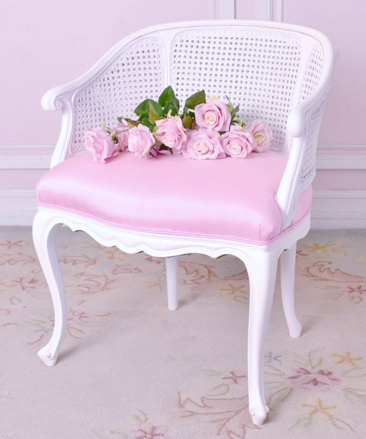 Cane Back Pink Velvet Chair